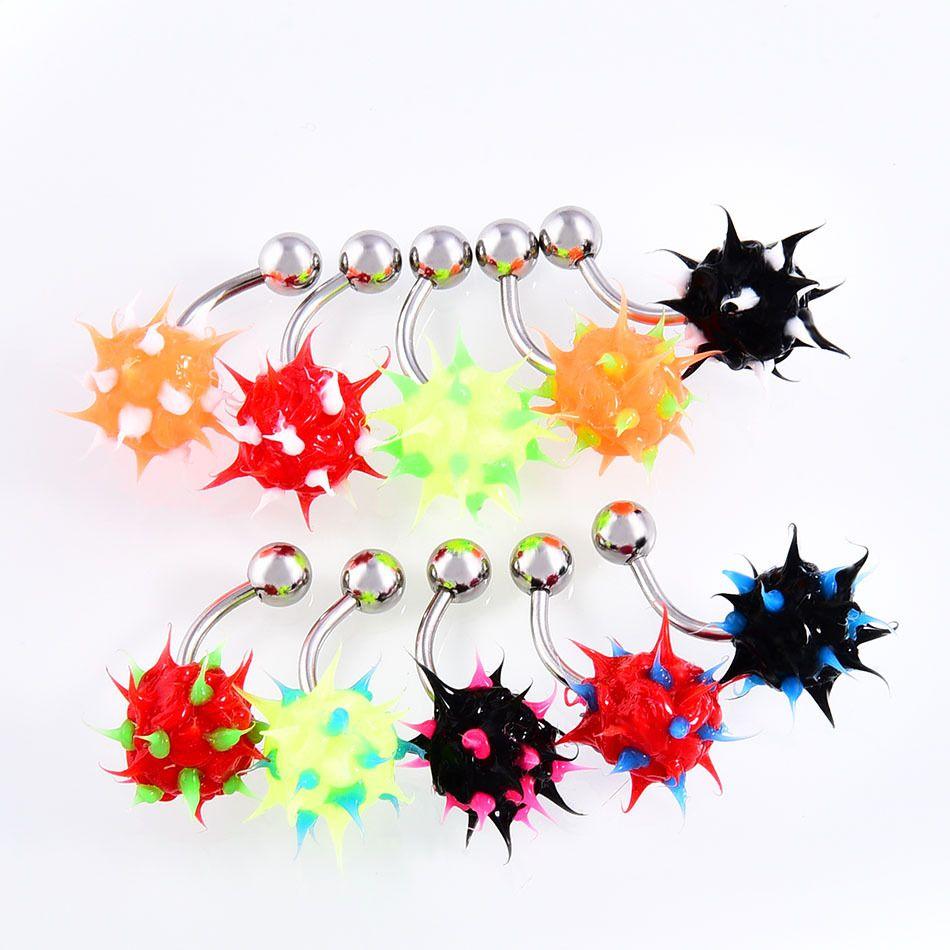 10PCS / LOT dell'arcobaleno del silicone di colore sfera Spike Belly Button anello con i capezzoli Monili punk delle donne degli uomini Piercing corpo
