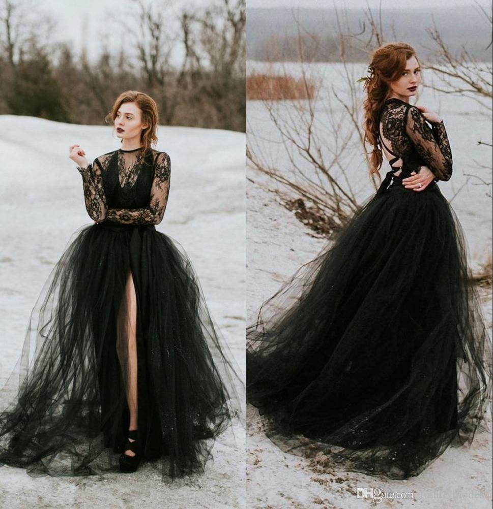Black Lace Tulle Gothic Wedding Dress With Long Sleeves Sexy Sheer Top Slit Skirt Women Non White Bridal Gown New Arrival