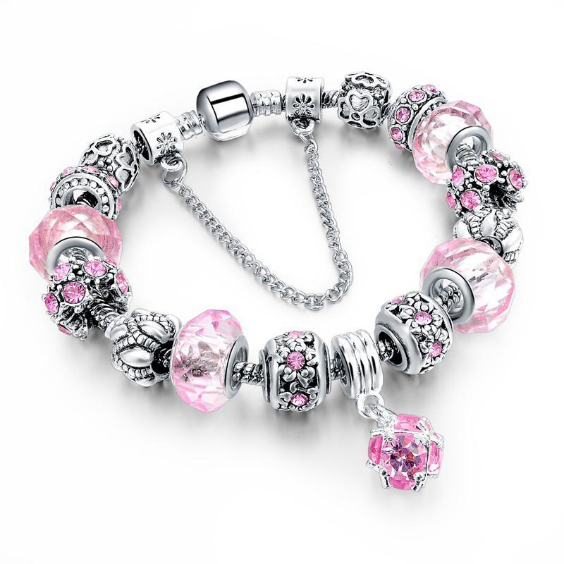 Venda quente De Cristal Beads Pulseiras Bangles Serpente Cadeia Charm Bracelets Para As Mulheres Jóias