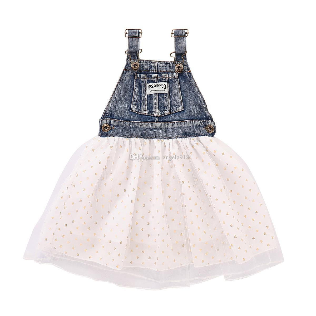 Baby girls white Love Denim vest Stitching dress 2018 Summer Girl Sleeveless printing mesh skirt Dress Kids Clothing H134