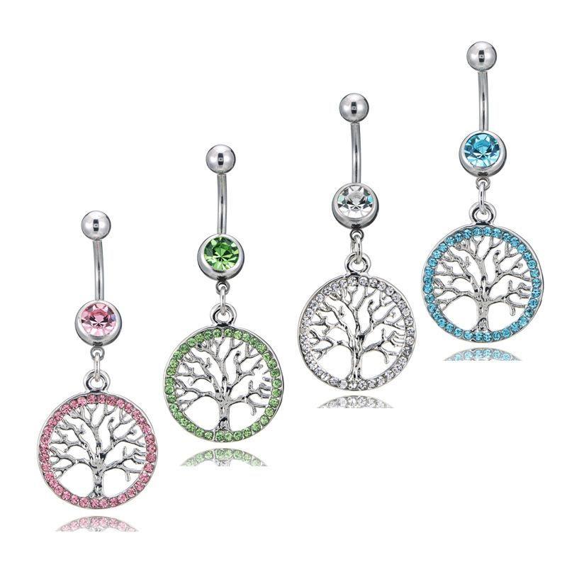 Nouveau nombril piercing arbre de vie charme glissière ronde charme cristal femmes pour le ventre bouton corps femmes bijoux