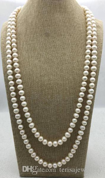 65 '' Long Pearl Jewellery, 10mm Potato Round White Colore naturale Collana di perle d'acqua dolce, Gioielli da sposa per donna