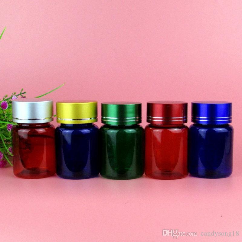 60g Plastikowy Pusta Niebieska Zielona Czerwona Butelka Pet Medycyna Pigtażu Butelki z Cap Szybka Wysyłka F794