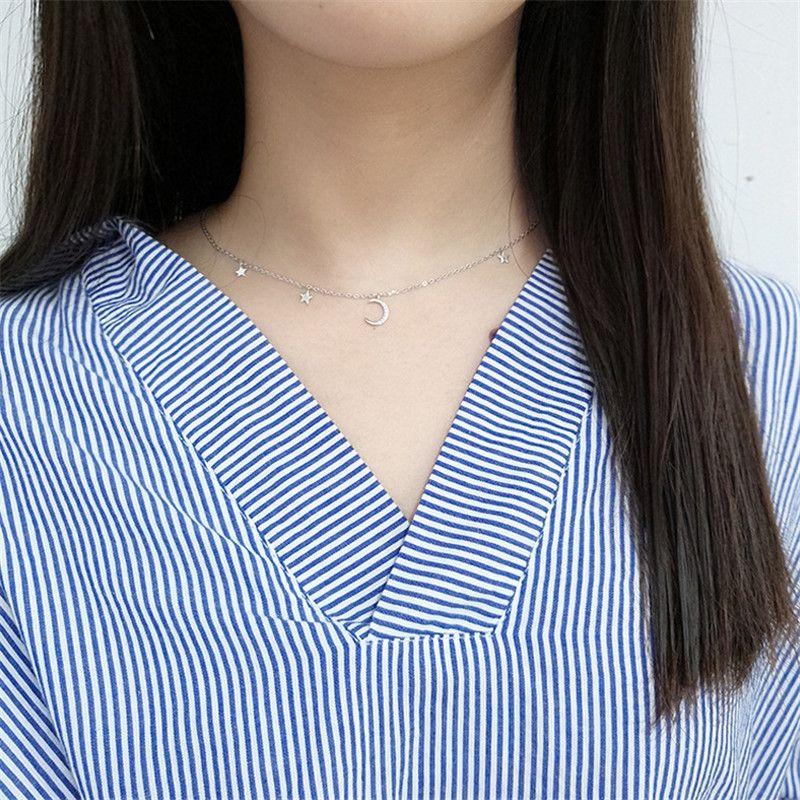Kore Ay Yıldız Kolye Kolye Kadın Kızlar için Gerçek 925 Ayar Gümüş Zincir Gerdanlık Kolye Güzel Takı YMN057