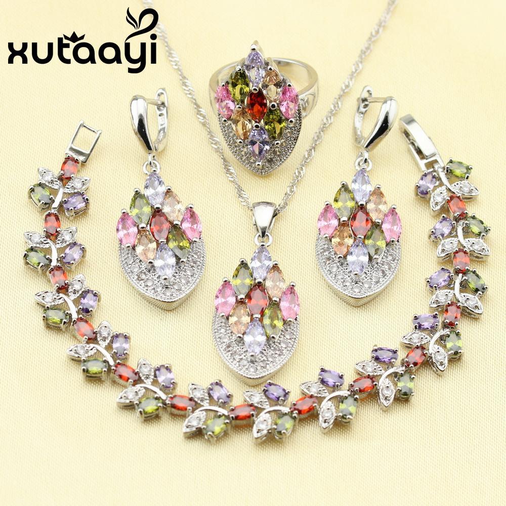 XUTAATI 4PCS 925 الاسترليني والفضة والمجوهرات مجموعة زهرة متعددة الألوان والأحجار زركون أقراط الطوق قلادة سوار