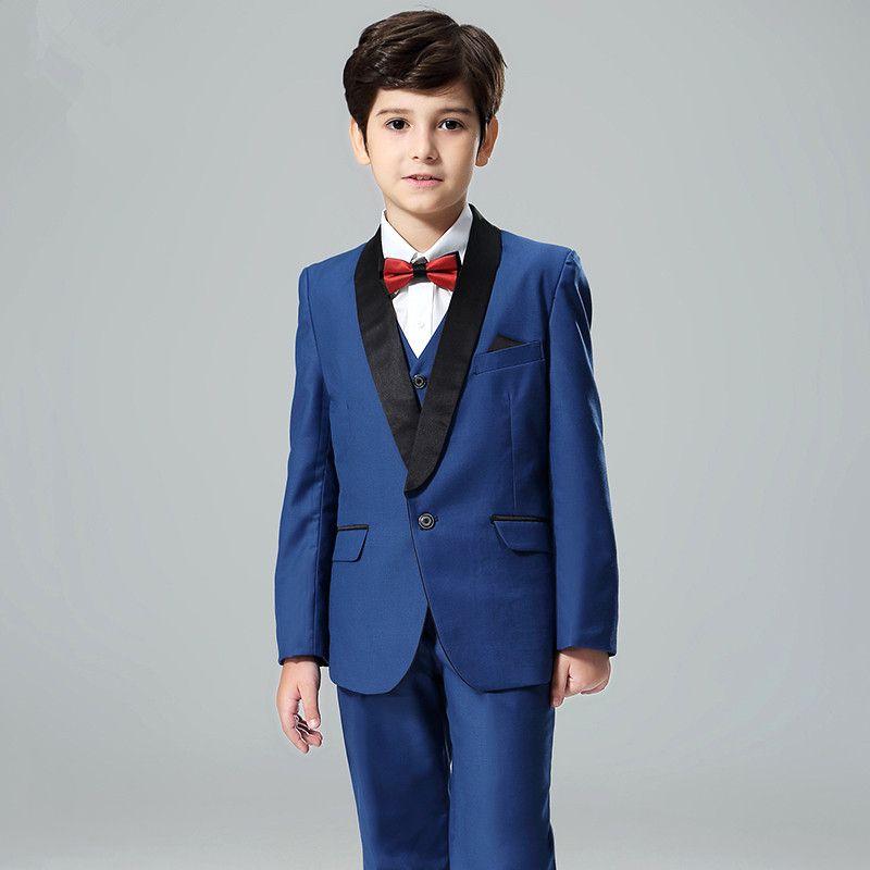 Özel Boy Mavi Takım Boy Şal Yaka Suit Üç Parçalı (Ceket + Pantolon + Yelek) çocuk Parti Mezuniyet Töreni Elbise