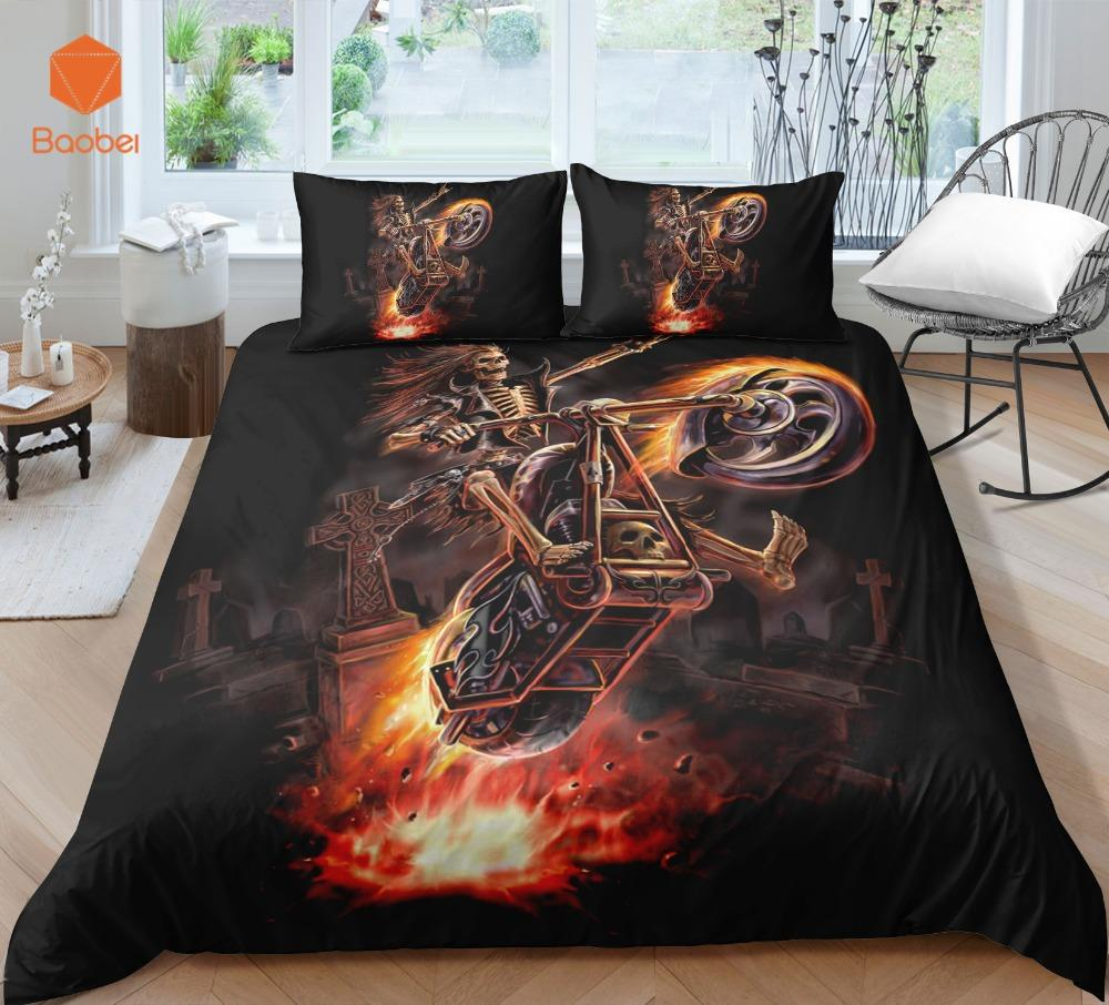3Pcs 3D Skull otorcycle Bedding Set With Pillowcases Duvet Cover Quilt Cover For Kids Queen King Sizes Bedspreads Sj234