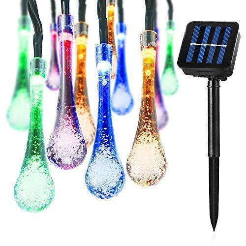 태양 문자열 조명 LED 물 드롭 조명 장식 태양 요정 조명, 5m 50 LED 조명, 완벽 한 집 꾸미기, 정원