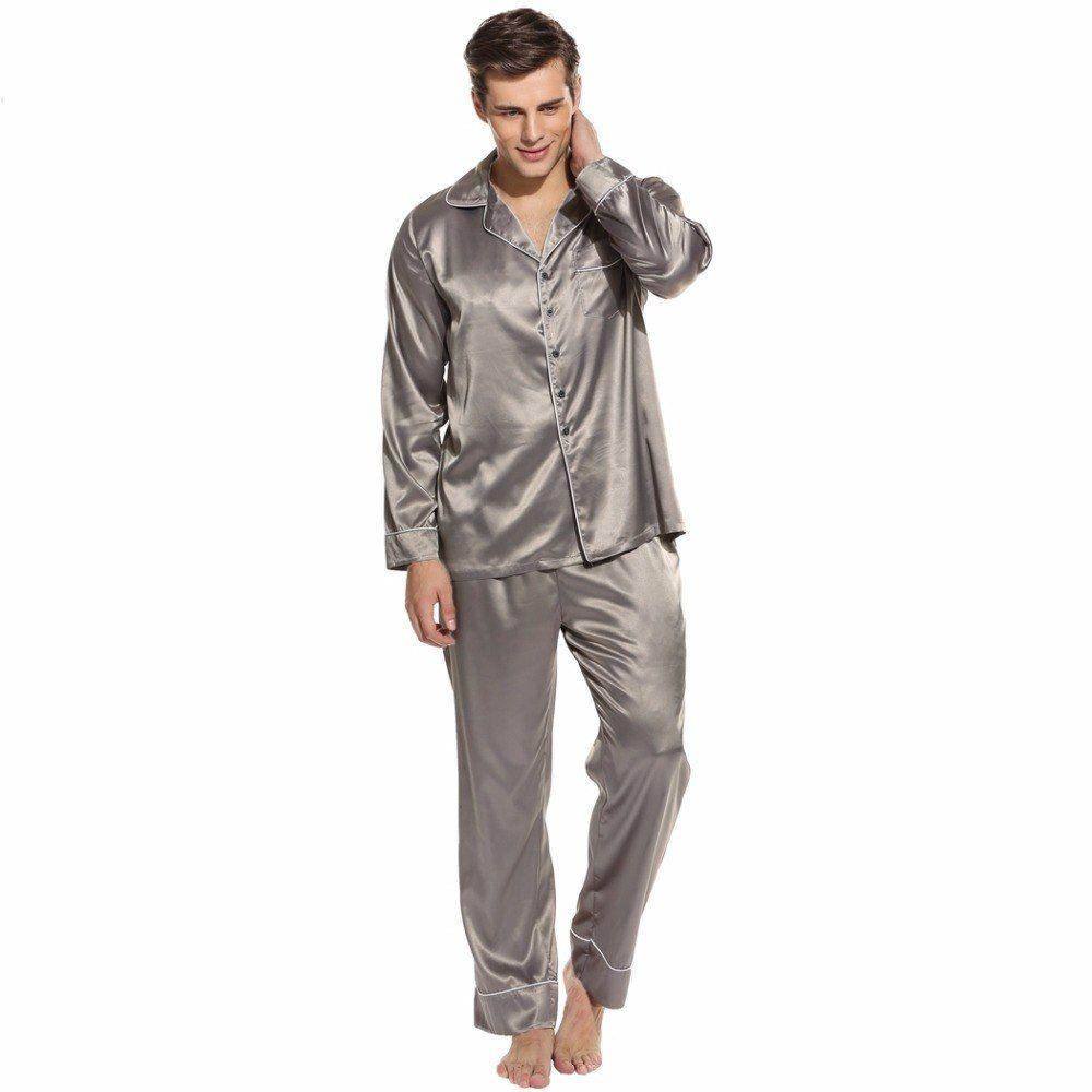 Sleepwear Sleepwear Men Satin Pajama Homme Pigiama da notte Set Pantaloni Lounge e Top 2 pezzi Suit Night Pigiama Uomo Abbigliamento per la casa