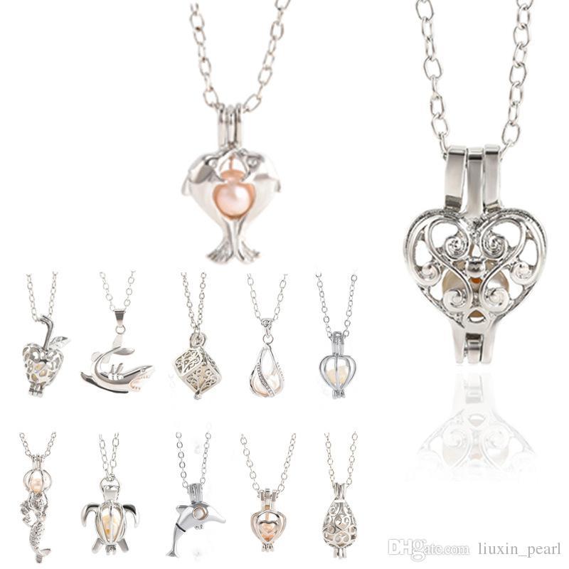 12 Gabbie di stile Oyster perla pendente Unicorn Locket scavano fuori di desiderio di amore collana di perle fiore della Rosa della sirena di gioielli fai da te
