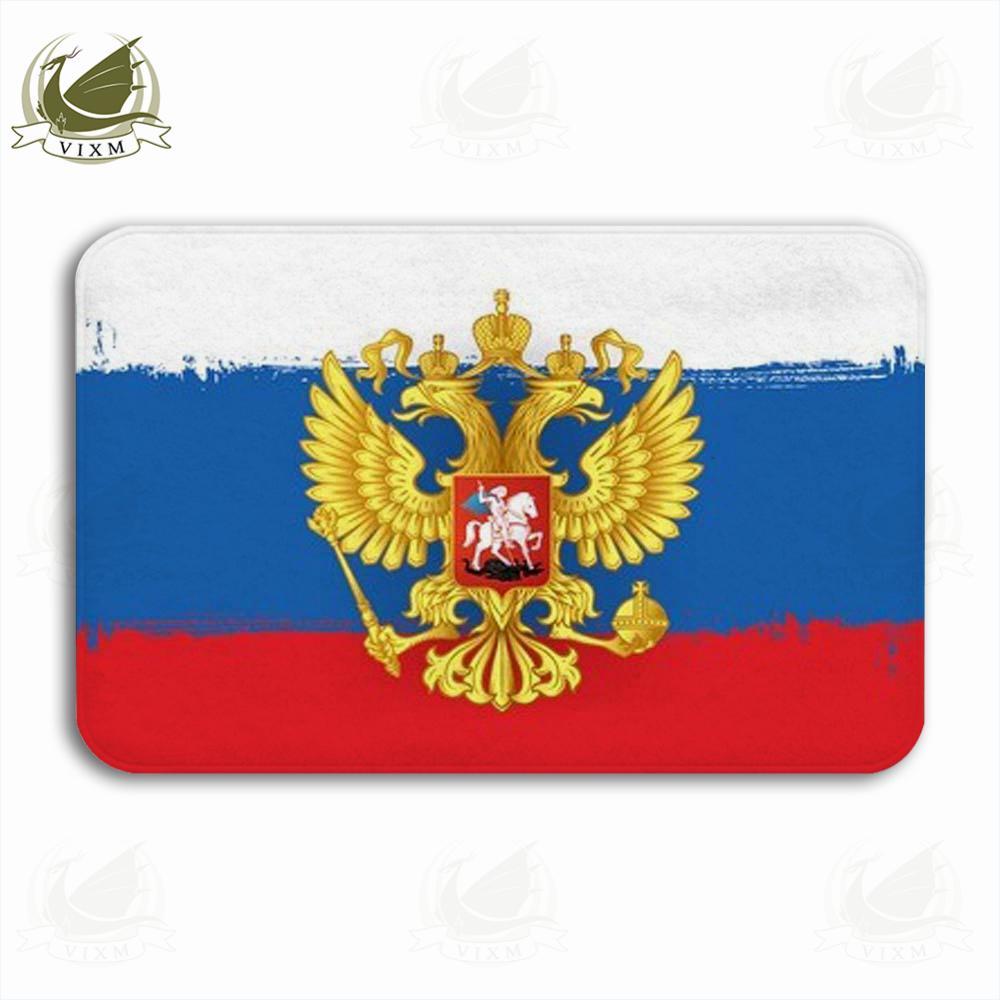 Vixm Russian Flag Brush Strokes Background Welcome Door Mat Rugs Flannel Anti-slip Entrance Indoor Kitchen Bath Carpet