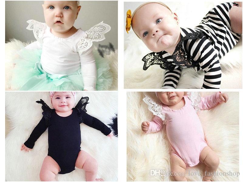 4 colori neonate ragazzi solido pizzo manica a mosca pagliaccetti neonato bambino manica lunga tuta di cotone per bambini tute un pezzo per feste panno