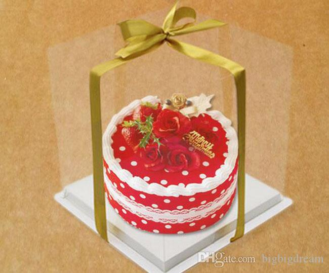 Wedidng Cake Box Clear Pet Transparent 4 6 8 10 Inch Bakery Boxes Big Cake Mousse Box Birthday Boxes Fre Shipping By Express Gift Card Gift Cards