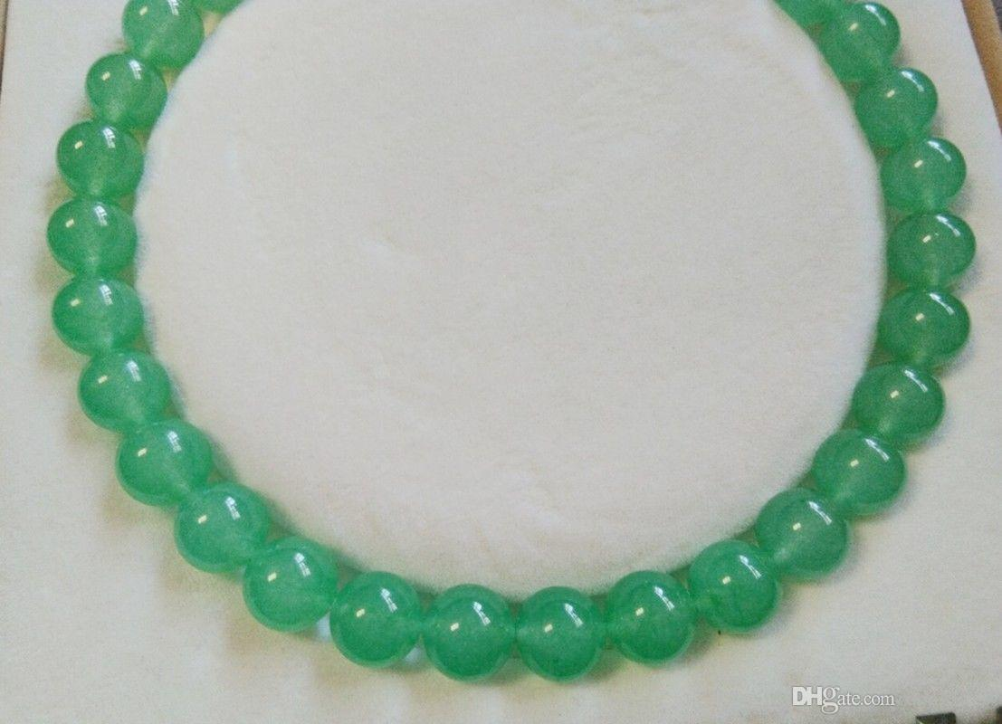 """Lunga collana di gemme di giada naturale verde chiaro da 18 """"12mm"""