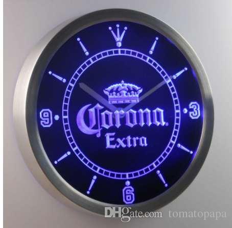nc0092 كورونا إضافي ولي البيرة بار النيون الصمام ساعة الحائط