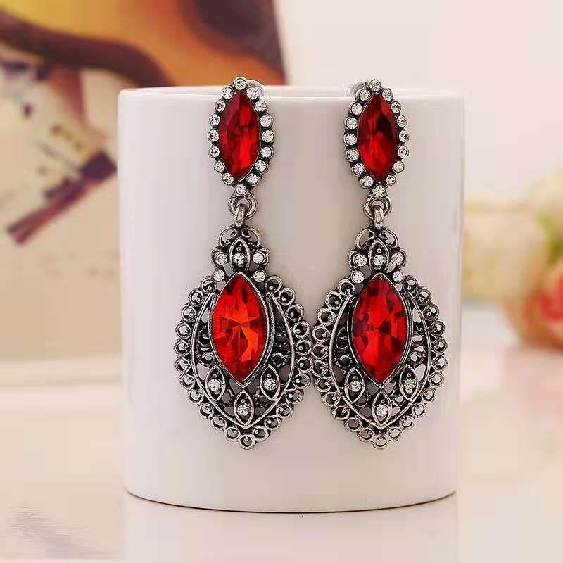 Boucle d'oreille en cristal rouge Anciens diamants en argent Dangle Boucles d'oreilles Robe de soirée de luxe Mariage Femmes Bijoux Livraison gratuite