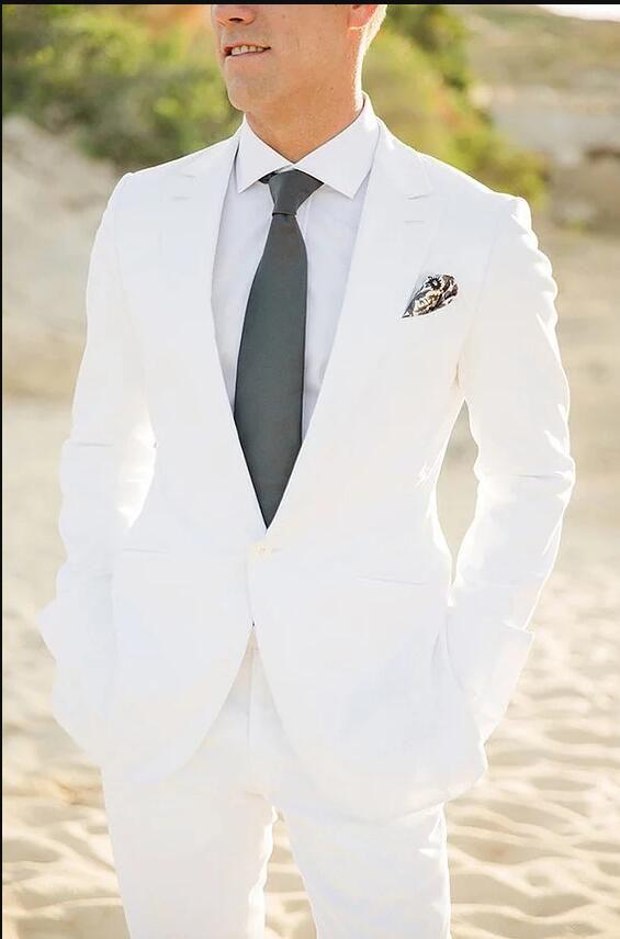 White Men Suits 2018 Wedding Suits 2 Piece(Jacket+Pants) Handsome Best Men Blazer Men's Classic Suits Slim Fit Groom Tuxedos Prom Wear Party