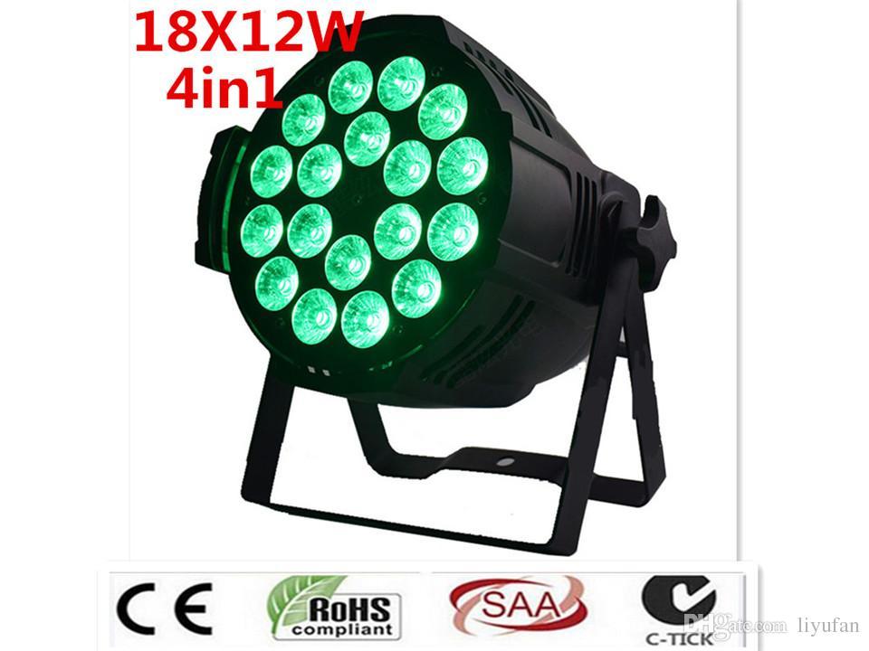 2pcs / lot ha condotto luce par 18x12W 4in1 LED Par Can discoteca lampada della fase luci RGBW piatto di plastica Luces Discoteca Laser Beam Luz de Pro