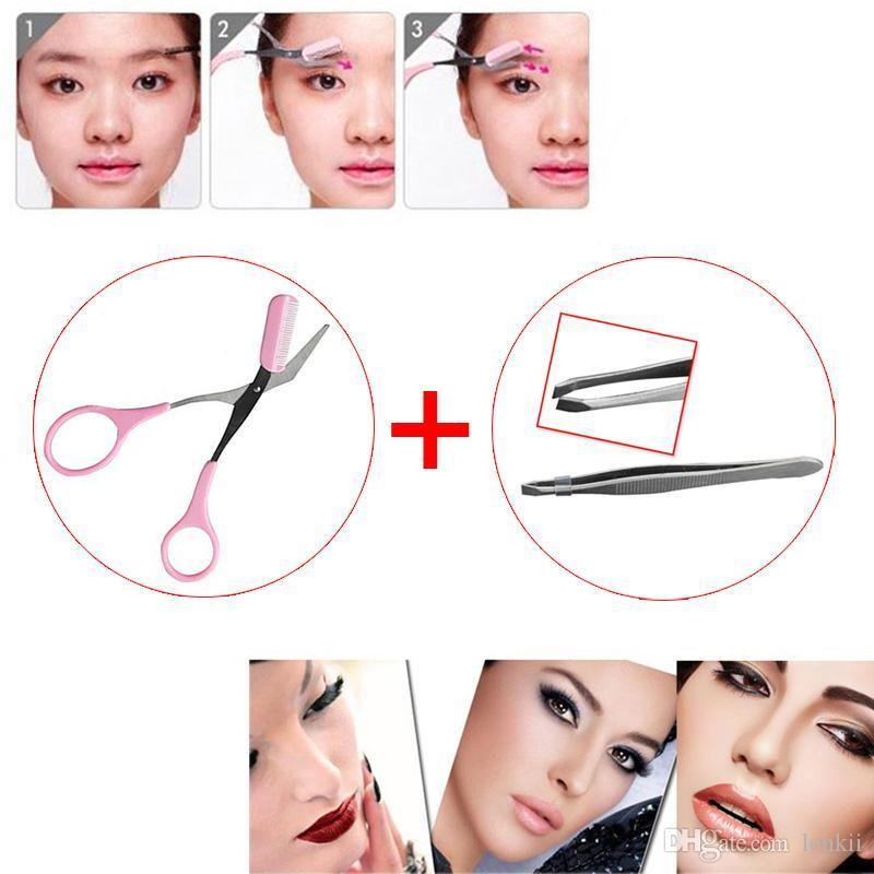 Acciaio inossidabile Sopracciglio Clip Tweezer + Trimmer per capelli Forbici per capelli Ciglio pettine Remover Strumento di bellezza