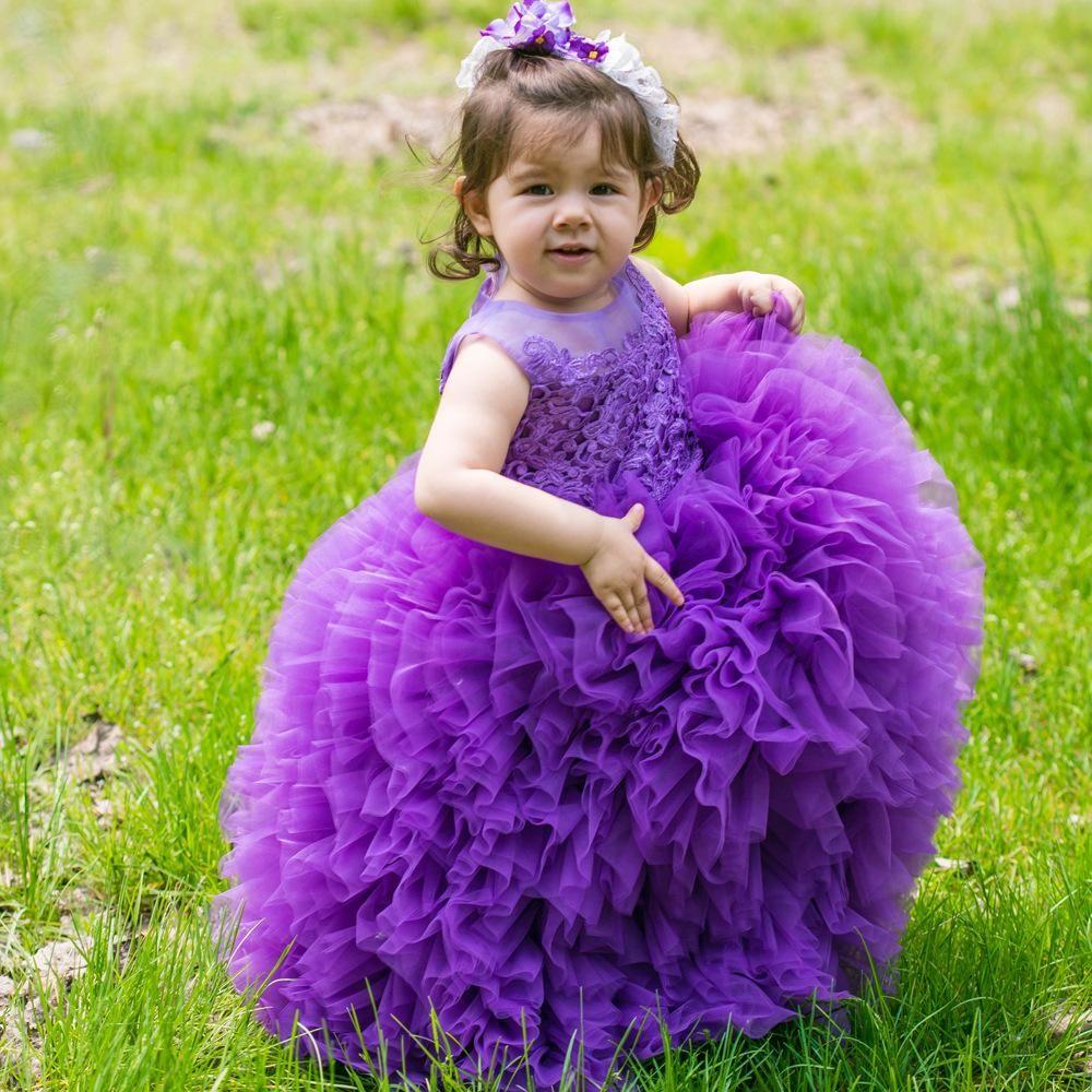 Новая принцесса фиолетовый маленькие девочки конкурс платья драгоценный камень шеи многоуровневого тюль малыш блеск конкурс платья для детей девочек день рождения платья