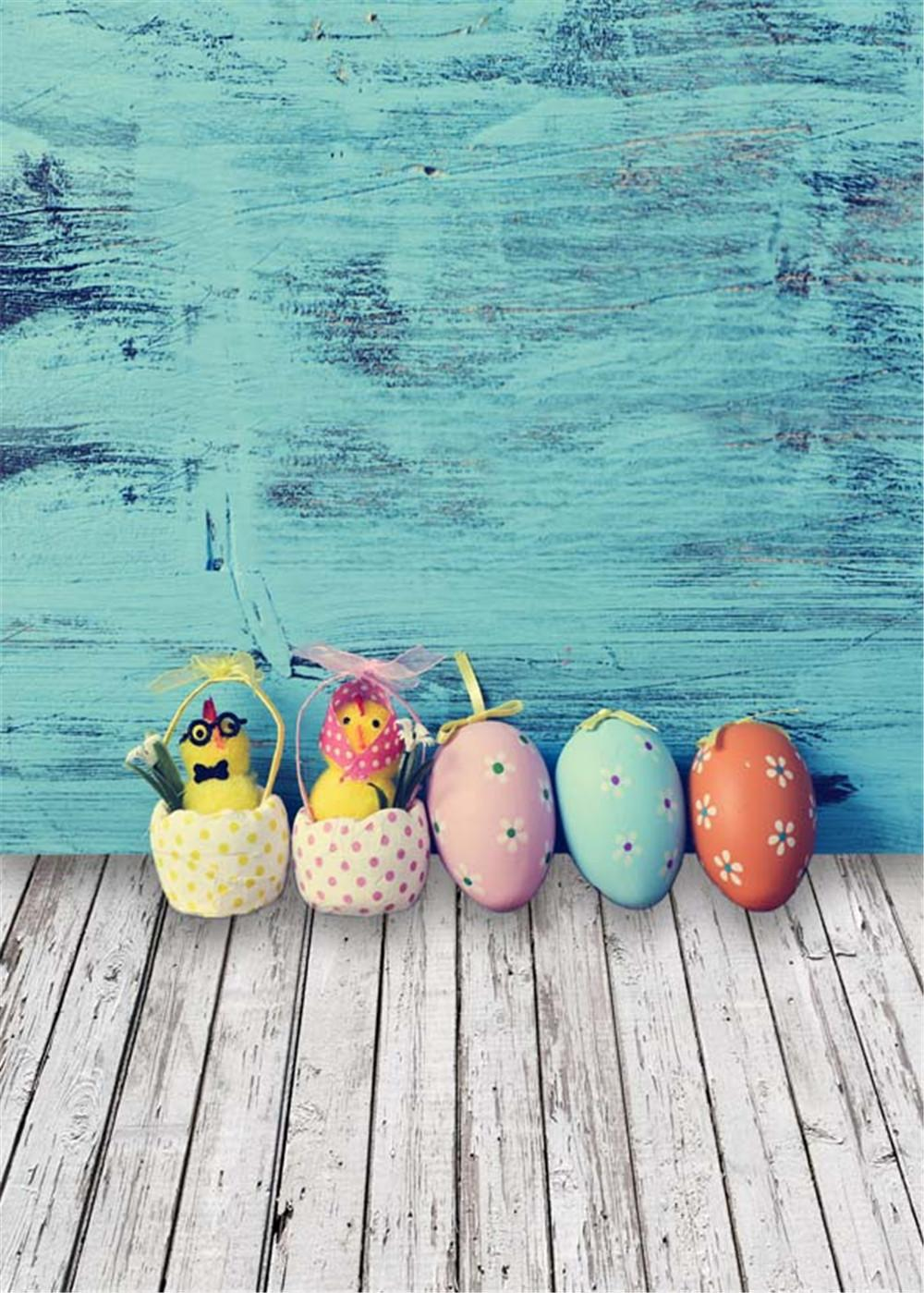 Blue Painted Wooden Wall Photography Backdrops Easter Eggs Baby Newborn Photo Props Vinyl Fabric Kids Children Studio Background Wood Floor