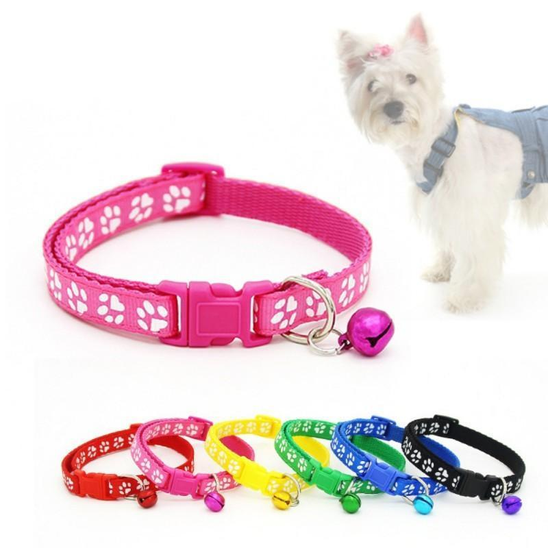 Wholesale Puppy Pets Cat Dog Strap Buckle Harness Pet Collar Nylon Fabric Footprint Pattern Dog Collar With Bell Pet Supplies
