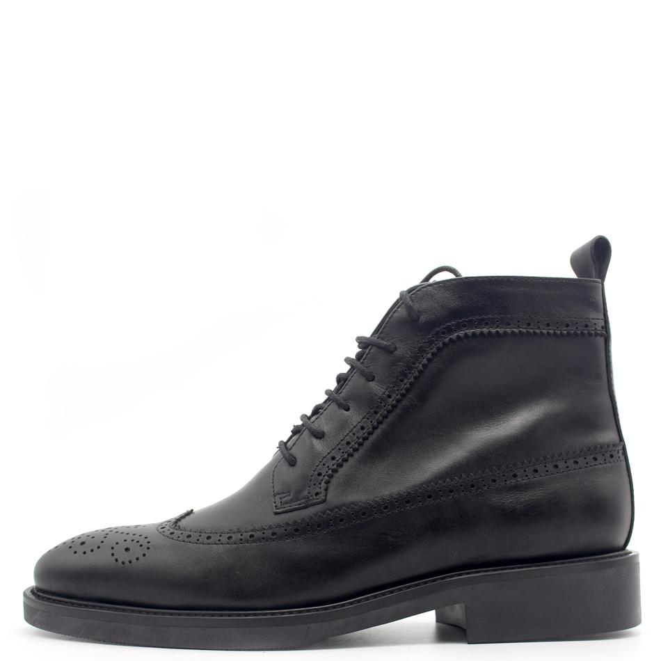ch.kwok Classic Carved Handmade Style Boots Cowhide Joker High-top Lace-up Pure Black Men's Shoes Europe and America Style
