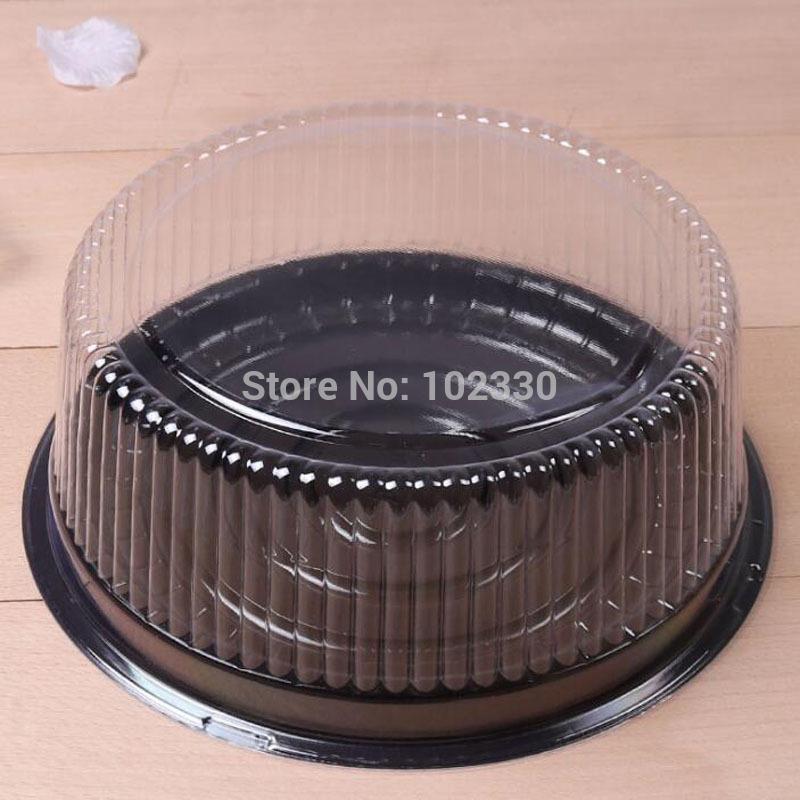 100 unids grande caja de pastel redondo / 8 pulgadas caja de queso / recipiente de pastel de plástico transparente partido titular de pastel de boda
