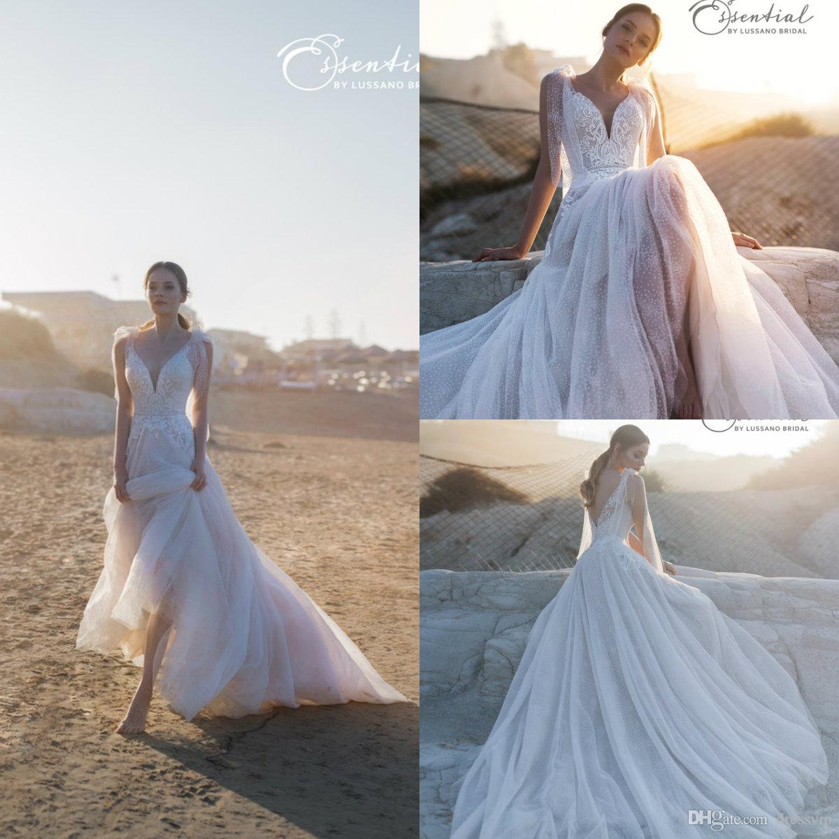2019 A Line Bohemian Wedding Dresses Spaghetti Sexy Backless Sweep Train Belt Beach Boho Bridal Gowns Wedding Dress Custom Made Plus Size