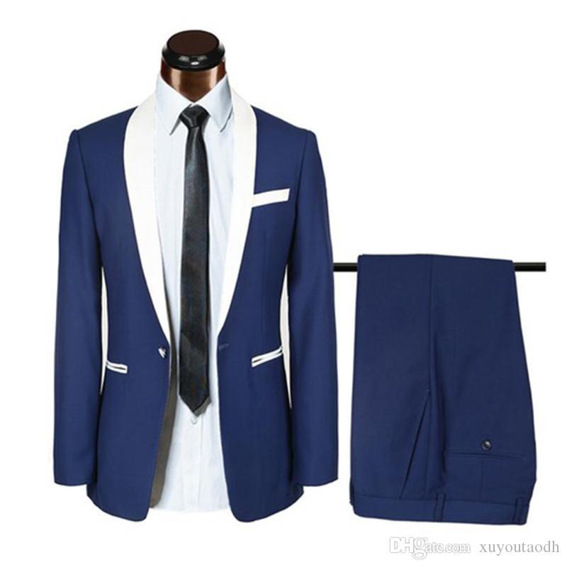 Men Suits 2018 Royal Blue Shawl Lapel Wedding Suits Custom Bridegroom Groom Tuxedos Slim Fit Formal Best Man Prom Evening Dress Party 2Piece
