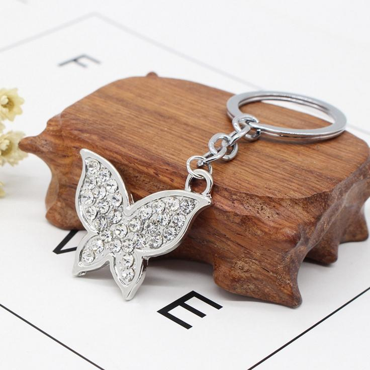 Luxury Butterfly Key Chain Alloy Pendant with Diamonds Personality Small Gift Bag Hanging Ornamant Car Key Accessory butterfly keychain