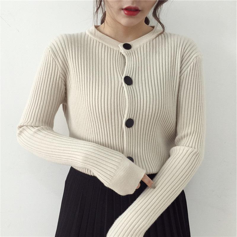 2018 Automne Hiver Femmes Couleur unie O cou à manches longues Cardigan Pulls Femmes Tricoté Femme Pull Femme pull cardigans