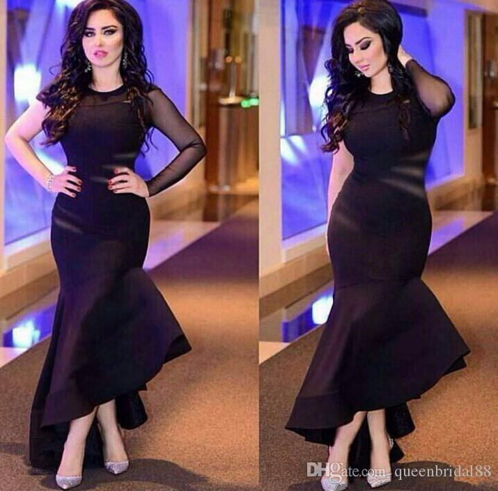 Modest one illusion long sleeve prom dresses 2018 jewel zipper back high low black mermiad evening gowns