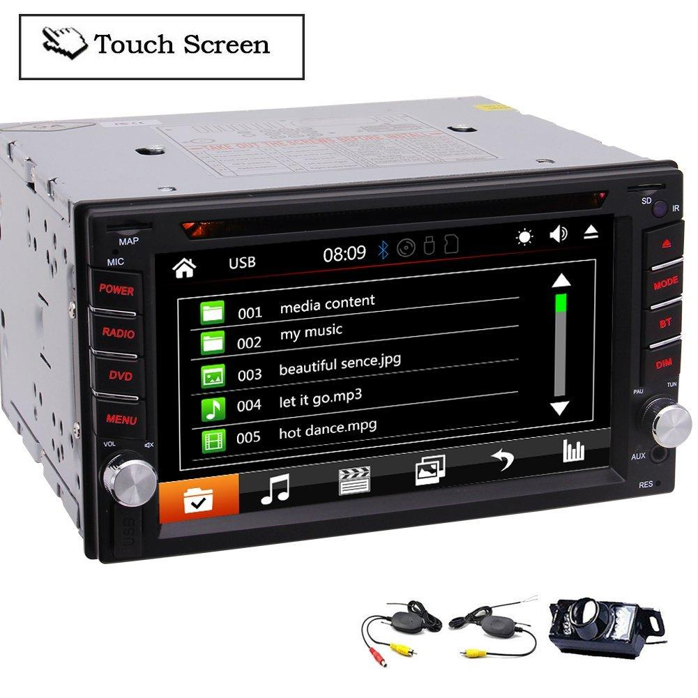 6.2'' Multitouch Screen Audio Autoradio Monitor 2Din In Dash Video CD Car DVD Player Radio Bluetooth Car Stereo EQ Subwoofer+Wireless Camera