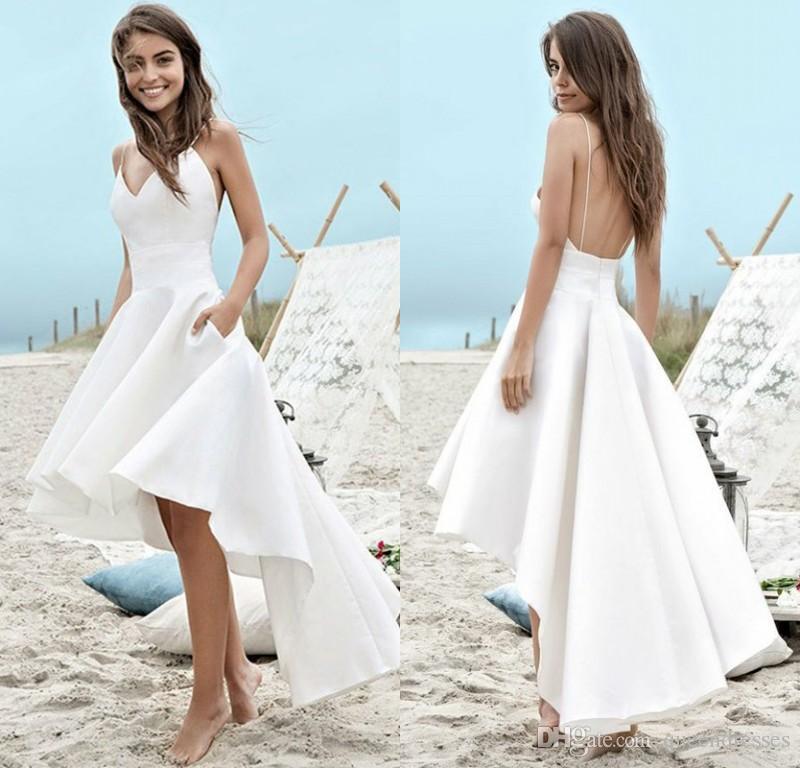 nuevo estilo 612d4 2de33 Compre Último Blanco Unos Vestidos De Novia De Playa Corto Frente Largo  Correas De Espagueti Sin Mangas Vestido De Novia Formal Vestidos De Novia A  ...