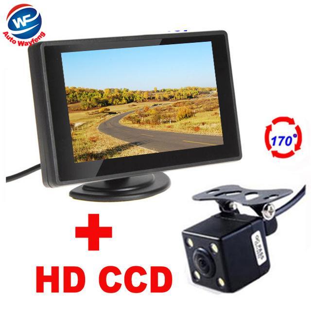 "Car Parking System Camera 4LED Rearview Rear View Camera+4.3"" TFT LCD Monitor 2 in 1 HD 170 Angle car backup camera Monitor"