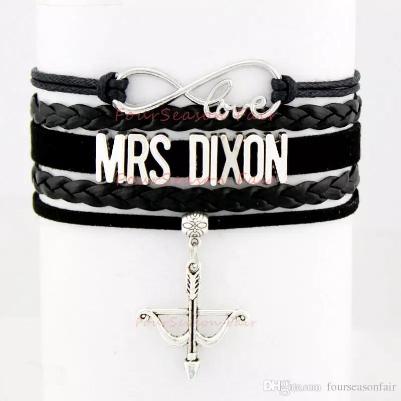 사용자 정의 - 무한대 사랑 걷는 데드 보우 및 화살표 팔찌에서 Daryl Dixon 부인 왁스 코드 가죽 팔찌 가변 팔찌