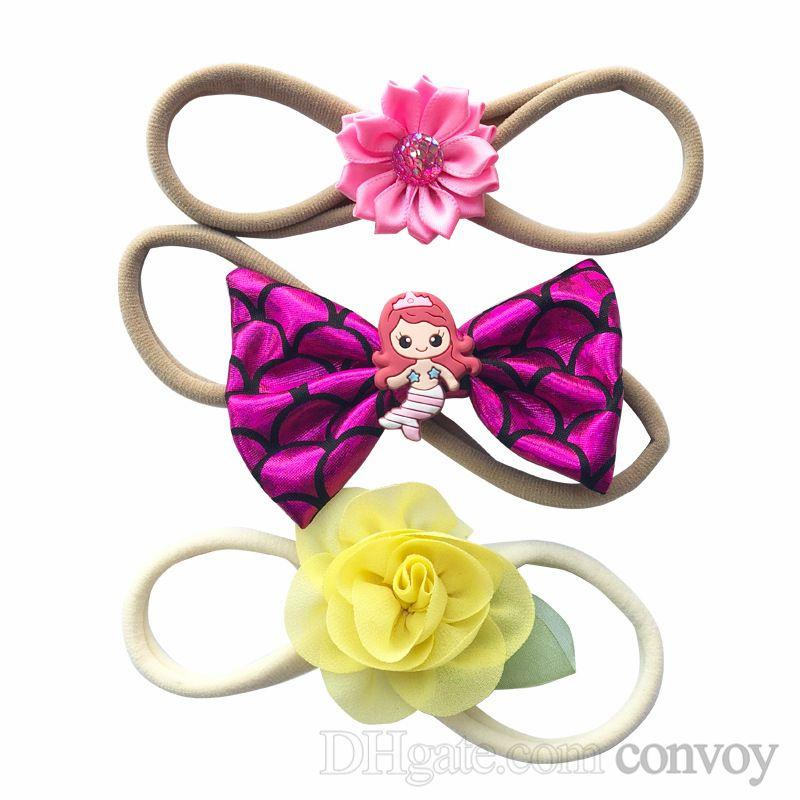 baby headbands bowknot ribbon MERMAID Rhinestone hairbands kids girls bunny bow headbands children twisted knot headwear headdress KHA731