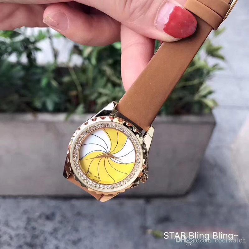 Rotazione mulino a vento delle donne della vigilanza migliore qualità orologi della manopola del cinturino in vera pelle orologi del quarzo eleganti per le signore regalo ragazza