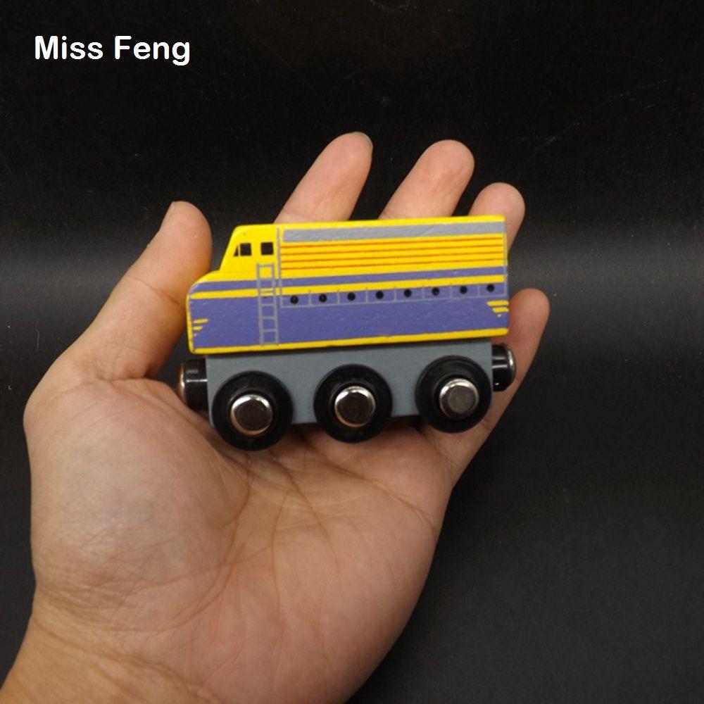 Color amarillo Tren de madera Locomotora magnética de madera con 6 Girar la rueda Aprendizaje temprano Juguete educativo Regalo de madera Juego