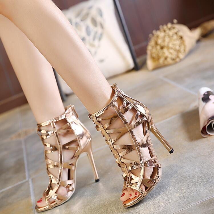 ahorrar 9801b 5e92d Compre 2018 Tendencia De Moda Para Mujer Color Champán Sandalias Huecas  Para Mujer Tacón De Aguja Tacón Alto Cremalleras Zapatos A $49.24 Del ...