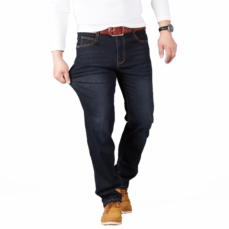 Big Size 28 -48 Man Jeans High Stretch Straight Long Slim Trousers Fashion Casual Black Blue Denim Male Business Jeanswear Pants