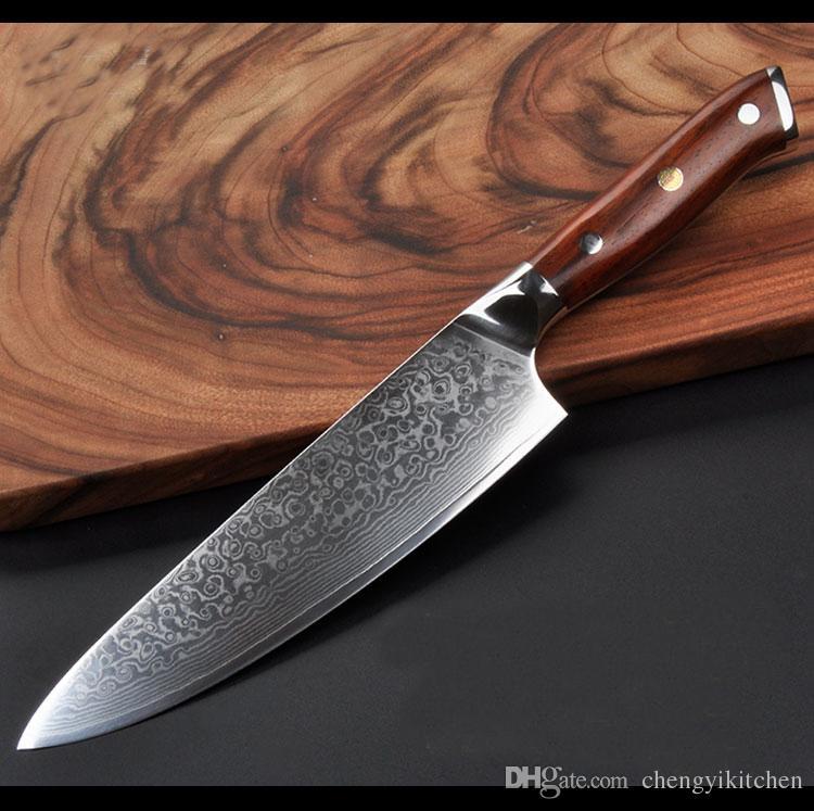 Novo 240mm Chef Faca de Alta Carbono 73layers Damasco faca de cozinha em aço inoxidável faca Gyuto Rose Wood Handls