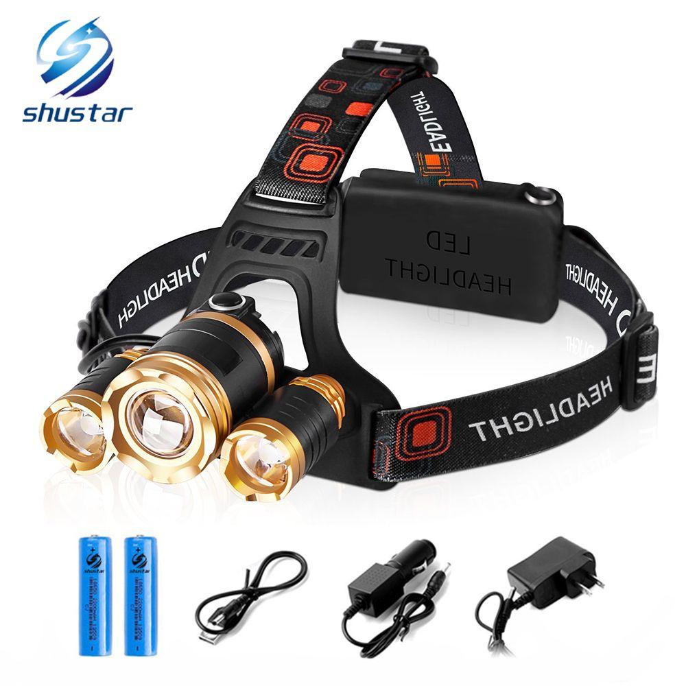 Shustar 3pcs T6 ha condotto il faro del faro 10000 lumen ha condotto l'attrezzatura all'aperto di pesca della luce di emergenza dell'accampamento della lampada della testa