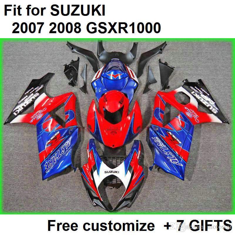 Wysokiej jakości zestaw do zwalczania dla Suzuki GSXR1000 07 08 Niebieskie czerwone wróżki Zestaw GSXR1000 2007 2008 OO93