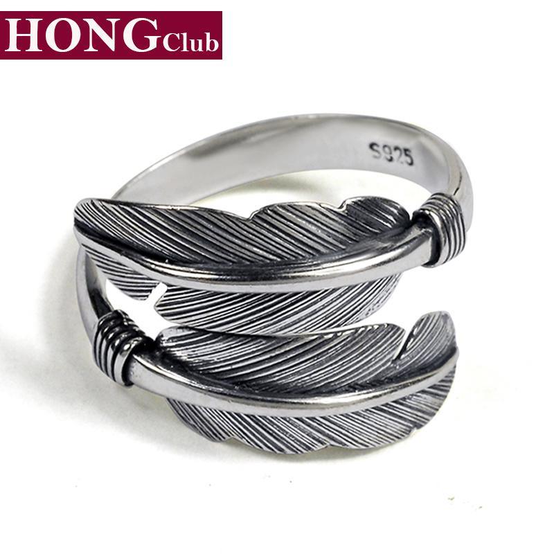 ريشة حلقة 100٪ ريال 925 فضة غرامة مجوهرات الرجال الساخن بيع الكلاسيكية تاكاهاشي تايلاند النساء أزياء نمط GR1 L18100901