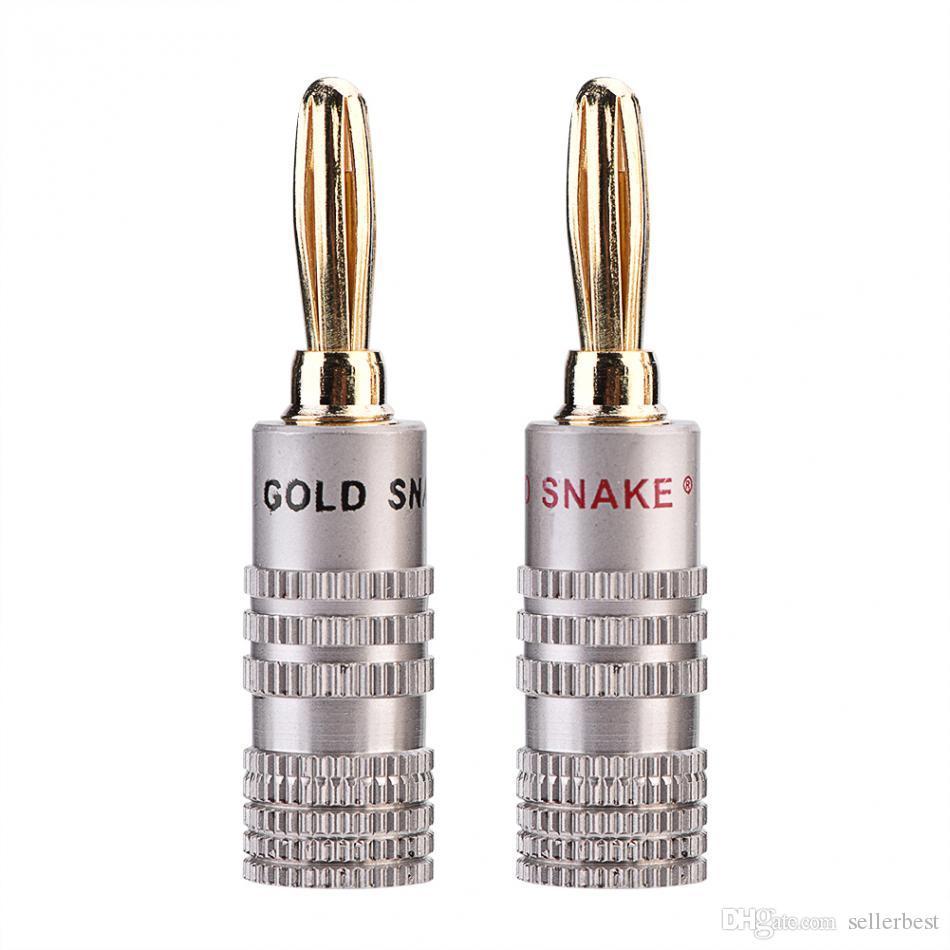 VBESTLIFE 10 Pcs/Pack Banana Plugs 4mm Diameter Audio Jack Adapter Dual Screw Lock Speaker Connector 24K Gold Plated Pure Copper