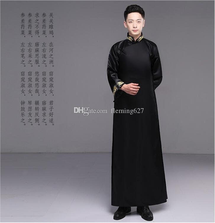 81ea2ac02 New traditional Chinese costume Men Cheongsam embroidered gown male Hanfu  Tang suit outfit Republic of China Gown Dress ethnic clothing