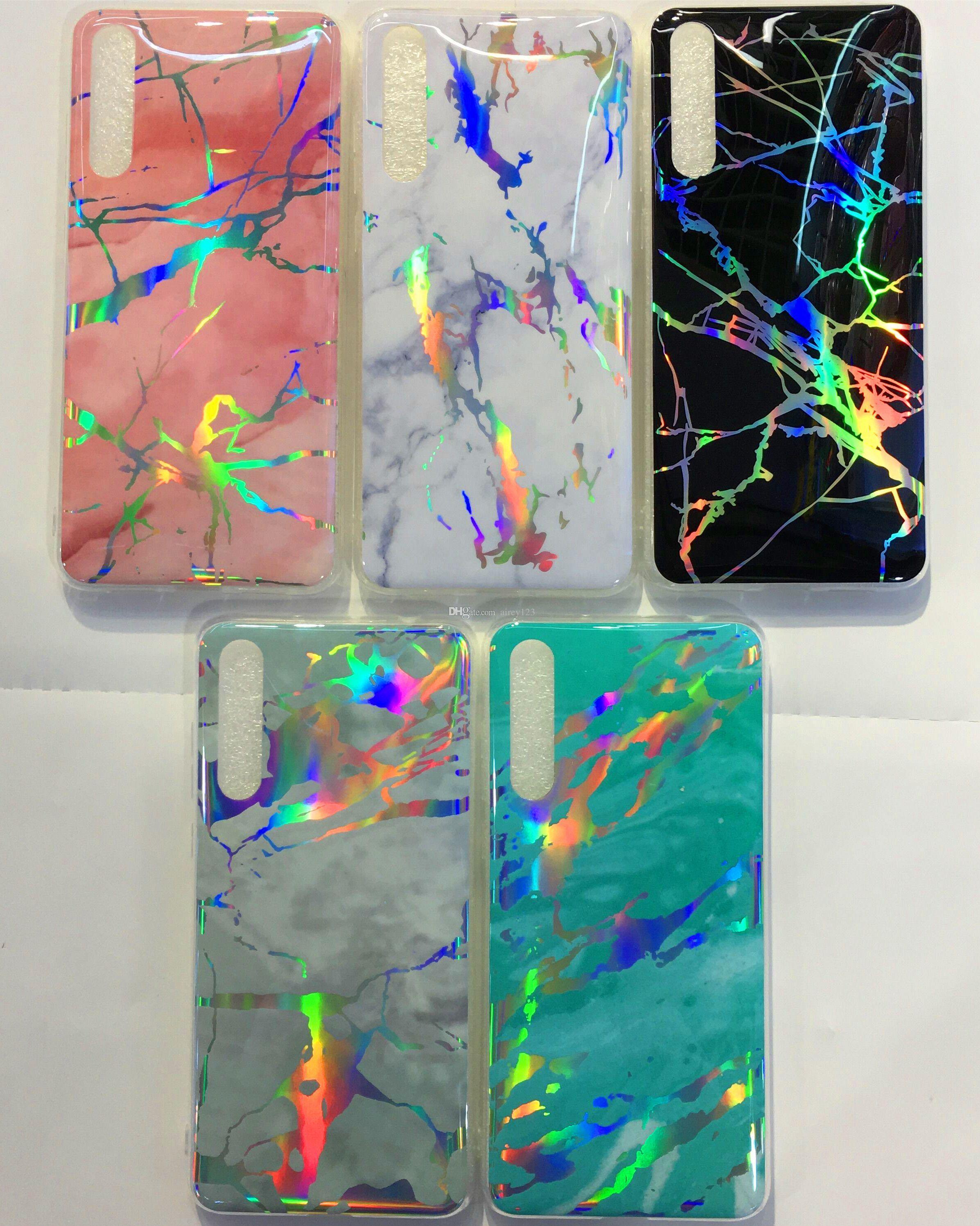 Holo TPU Laser Cover Chrome Marble Case for iPhone X XS 6 7 8 Plus Huawei P20 Pro/Lite Nova 3/3e/3i