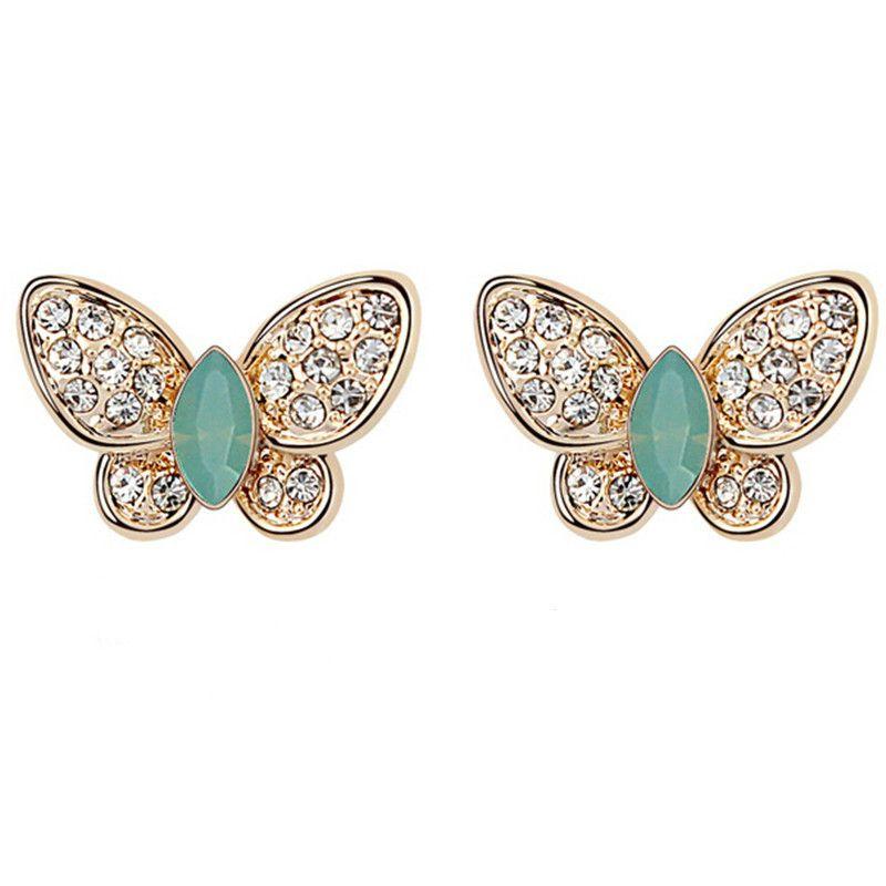 Designer Brand Jewelry Cristal de alta calidad de Swarovski Elements Butterflies Stud Pendientes Mujeres Accesorios de moda 6955